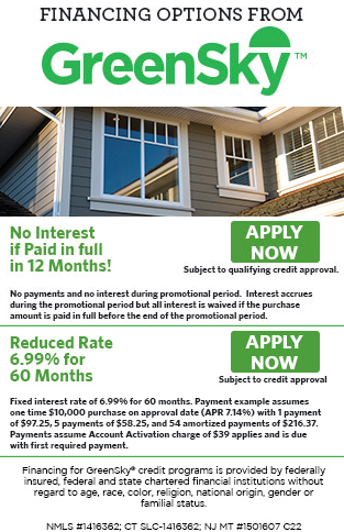 Financing options for your new windows and doors from GreenSky Financial. Apply now button.